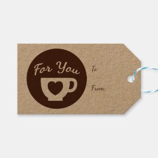 Love Brown And White Hearts Coffee Cup - Wedding Gift Tags
