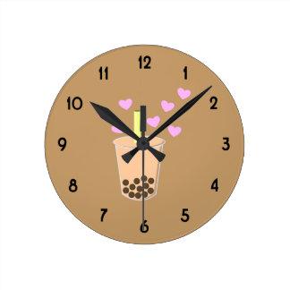 Love Bubble Tea Round Clock