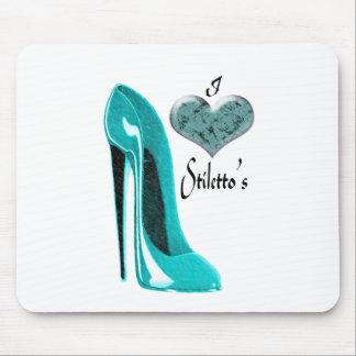 Love Bubblegum Blue Stiletto Shoe and 3D Heart Mouse Pad