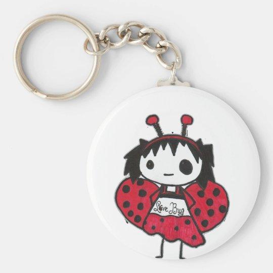 love bug basic round button key ring
