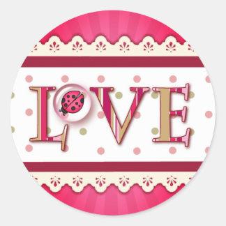 LOVE BUG BUBBLE, DOTS & STRIPES by SHARON SHARPE Round Sticker