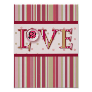 LOVE BUG BUBBLE & STRIPES by SHARON SHARPE Poster