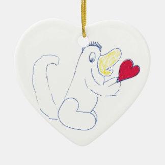Love Bug Ceramic Heart Christmas Ornament
