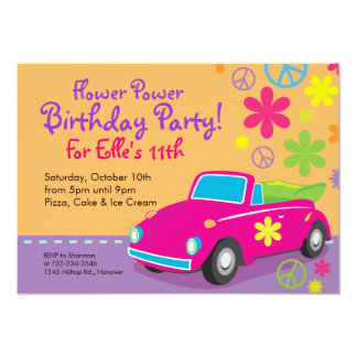 Love Bug Hippie Birthday Party Invitations