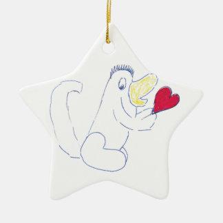 Love Bug Star Ceramic Christmas Ornament