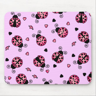 Love Bugs Pink Ladybugs Mouse Mat