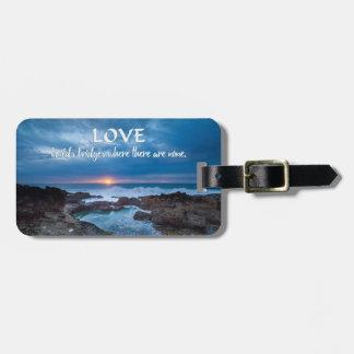Love Builds Bridge custom text luggage tag