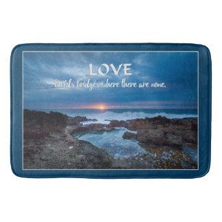 Love Builds Bridges bath mats