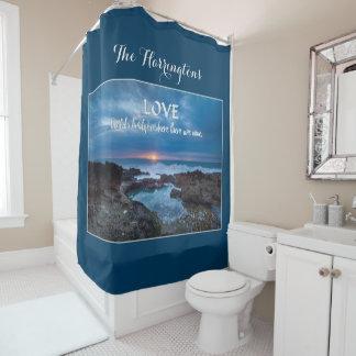 Love Builds Bridges custom monogram shower curtain