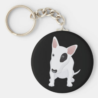 Love Bull Terrier Puppy Dog Black Keychain
