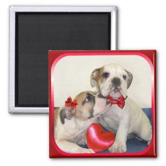 Love Bulldogs square magnet