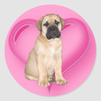 Love Bullmastiff puppy stickers