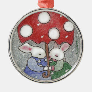 love bunnies Christmas ornament