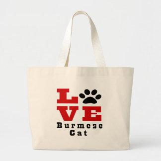 Love Burmese Cat Designes Large Tote Bag