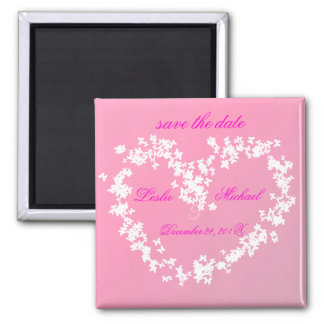 Love, butterflies heart, save the date square magnet