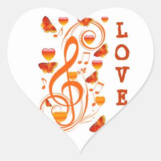 Love & Butterflies,Music notes_ Heart Sticker