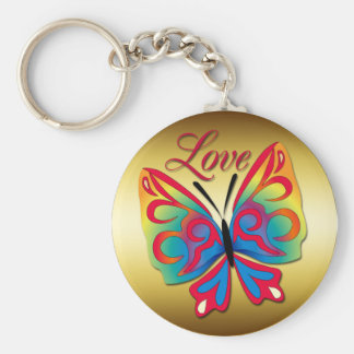 LOVE BUTTERFLY BASIC ROUND BUTTON KEY RING
