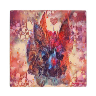 Love Cairns Puppy Square Wooden Coaster