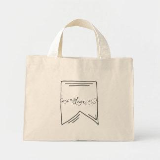 Love Calligraphy Banner Mini Tote Bag