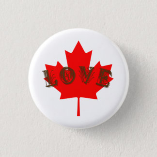 Love Canada Day maple leaf button pin