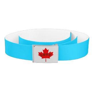 Love Canada Day red maple leaf custom aqua belt