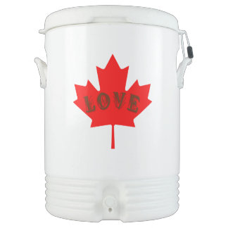 love Canada Day red maple leaf drink cooler