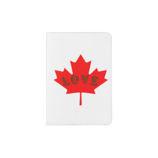 Love Canada Day red maple leaf passport holder