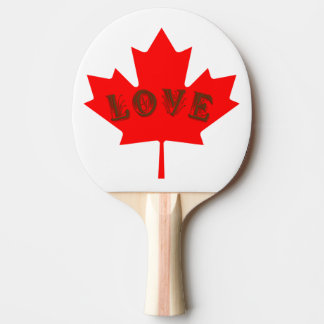 love Canada Day red maple leaf  ping pong paddle