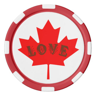 love Canada Day red maple leaf  poker chips