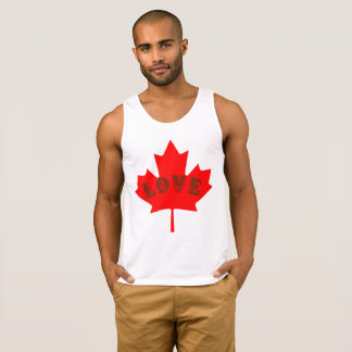 Love Canada Day red maple leaf tank top