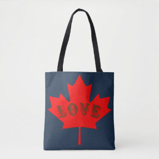 Love Canada Day red maple leaf tote bag