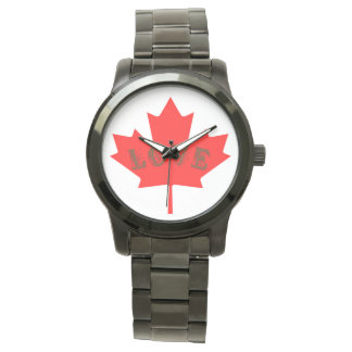 love Canada Day red maple leaf  watch