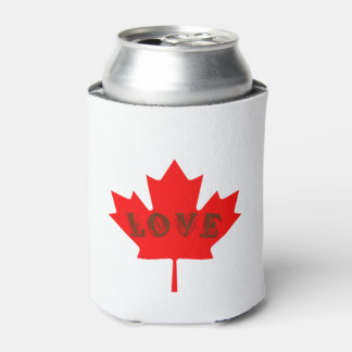 Love Canada red maple leaf  can cooler