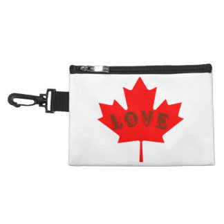 love Canada red maple leaf clip on travel bag