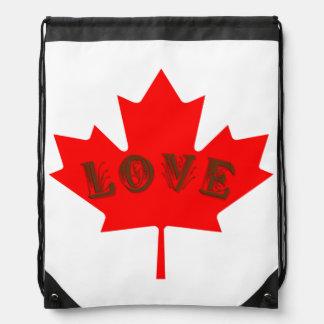Love Canada red maple leaf  drawstring bag