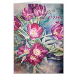 Love Cards Purple Poppy Floral Watercolor