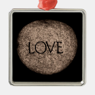 """Love"" Carved Stone Christmas Ornament"