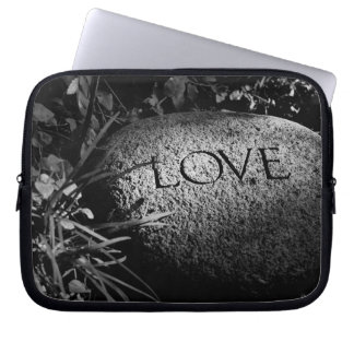 """""""Love"""" Carved Stone in Black and White Laptop Sleeve"""