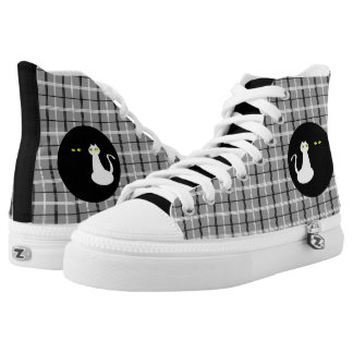Love Cats Black White Cool Tartan Adorable Unique Printed Shoes