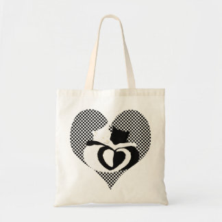 Love Cats - black & white tails, entwined hearts