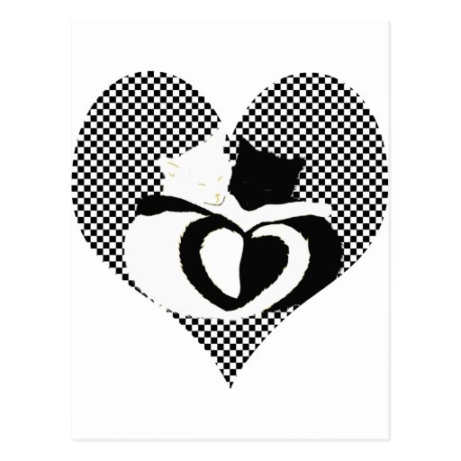 Love Cats - black & white tails, entwined hearts Postcard