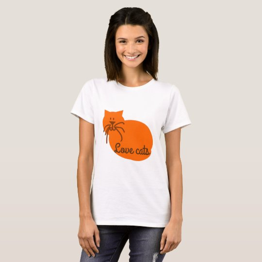 Love cats cartoon cat orange t-shirt