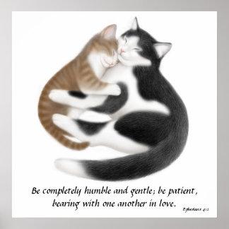 Love Cats Ephesians 4:2 Inspirational Print