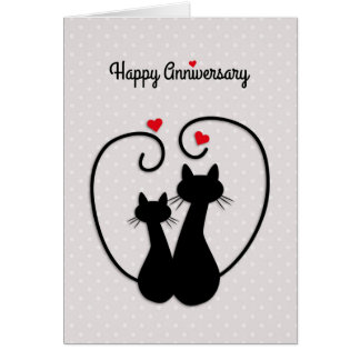 Love Cats, Happy Wedding Anniversary Card
