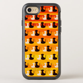 Love Cats Silhouette Bright Orange Yellow Stripes OtterBox Symmetry iPhone 7 Case