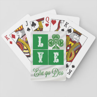Love Celtic Shamrock Hearts Ireland Motto Playing Cards