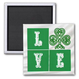 Love Celtic Shamrock Hearts over Satin Magnet
