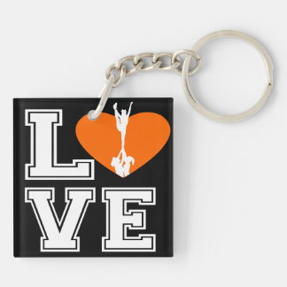 Love Cheerleading Double-Sided Square Acrylic Key Ring