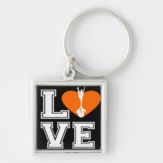 Love Cheerleading Silver-Colored Square Key Ring