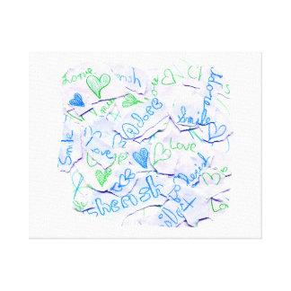 Love Cherish Adore Purple and Green Collage Square Gallery Wrap Canvas